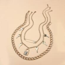 3pcs Men Key & Lock Charm Necklace