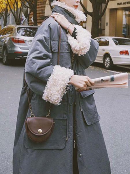 Milanoo Women\'s Coats Red Turndown Collar Pockets Casual Wrap Coat Outerwear