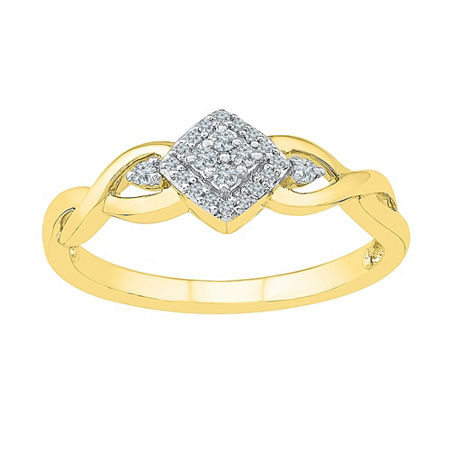 Promise My Love Womens 1/10 CT. T.W. Genuine White Diamond 10K Gold Promise Ring, 8 , No Color Family