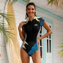 Badeanzug mit tropischem Muster und Reissverschluss