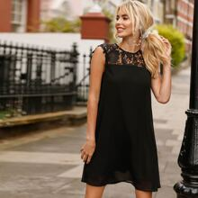 Vestidos Encaje en contraste Liso Negro Elegante