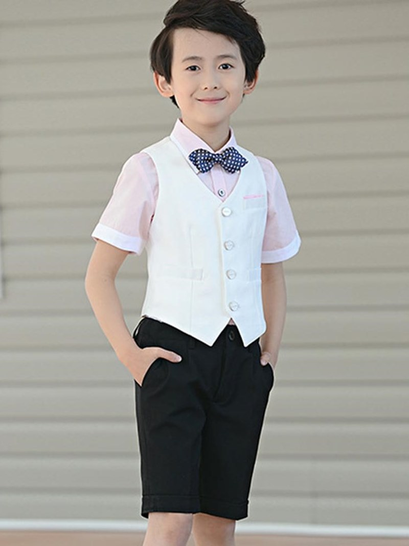 Ericdress Plain Shirts Vest Shorts Boy's Summer Suits