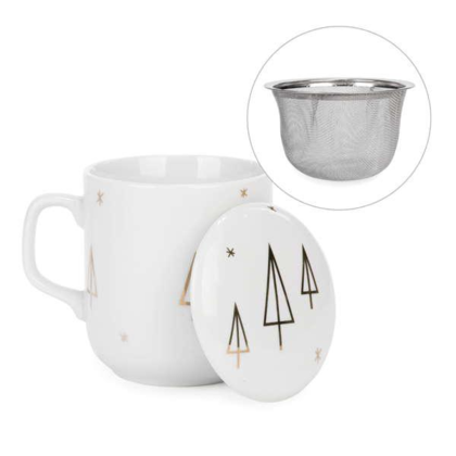 Ceramic Tea Cup Infuser Mug with Lid Stainless Steel Infuser Office and Home- Gold Trees Motif 3.5X4