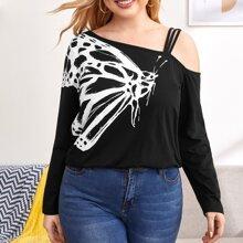 T-Shirt mit Schmetterling Muster und asymmetrischem Kragen
