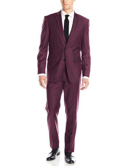 Men's Single Breasted 2 Button Wine Classic & Slim Fit Suits