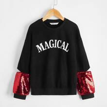 Pullover mit Buchstaben Grafik und Kontrast Pailletten auf Ärmeln