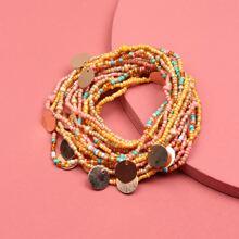 12 Stuecke Armband mit Disc Dekor und Perlen