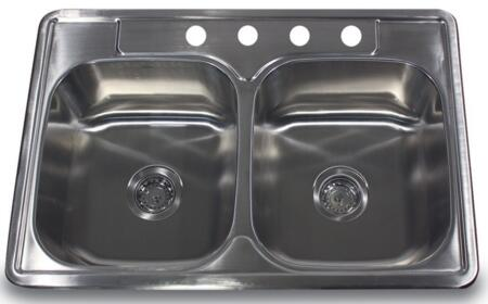 NS3322-DE - 33 Inch Double Bowl Equal Self Rimming Stainless Steel Drop in Kitchen Sink  18