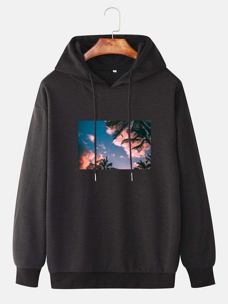 Mens Cotton Scenery Graphic Print Relaxed Fit Drawstring Hoodies