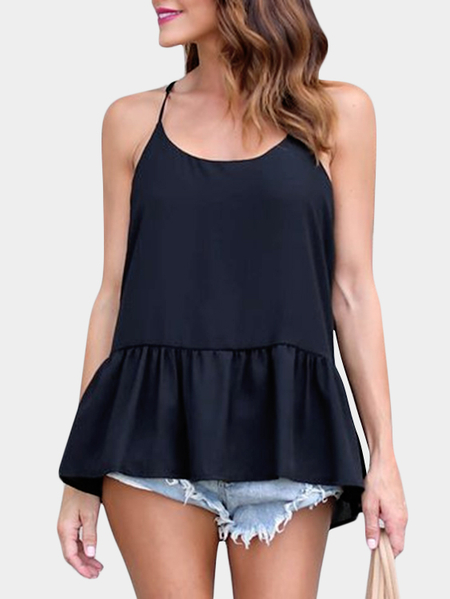 Yoins Black Casual Halter Sleeveless T-shirts