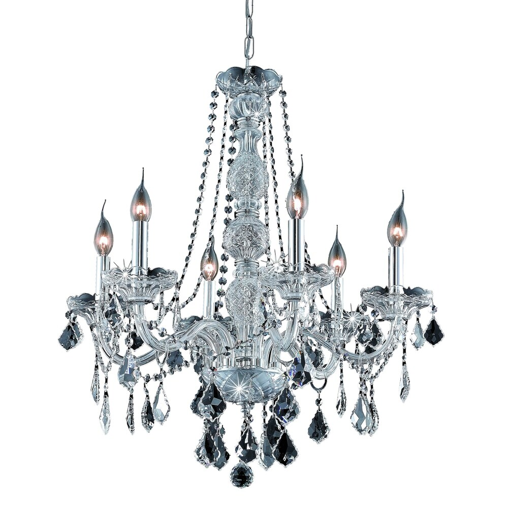 Verona 6-Light 24 in. Chandelier (Available in Chrome and Gold) (chrome (royal cut crystals))