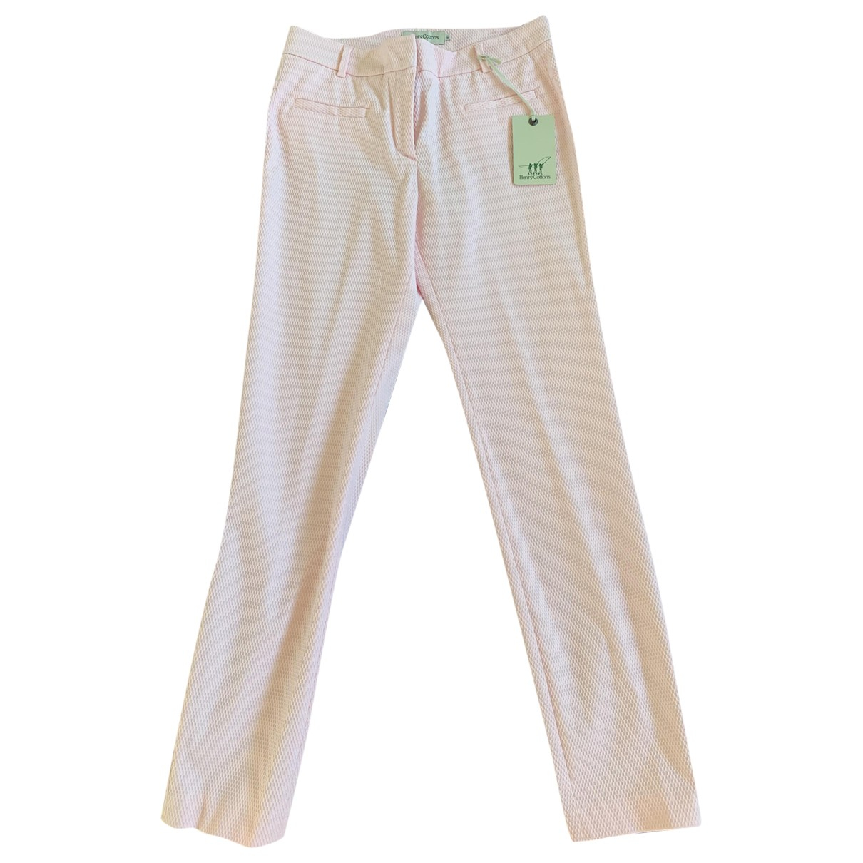 Henry Cotton \N Pink Cotton Trousers for Women 42 IT