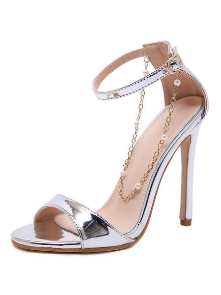 Milanoo High Heel Sandals Womens Ankle Strap Sandals Stiletto Heel Dress Sandals with Chains