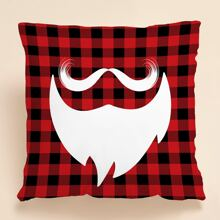 Christmas Beard Print Cushion Cover Without Filler