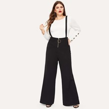 Plus Zip Front Pants With Strap