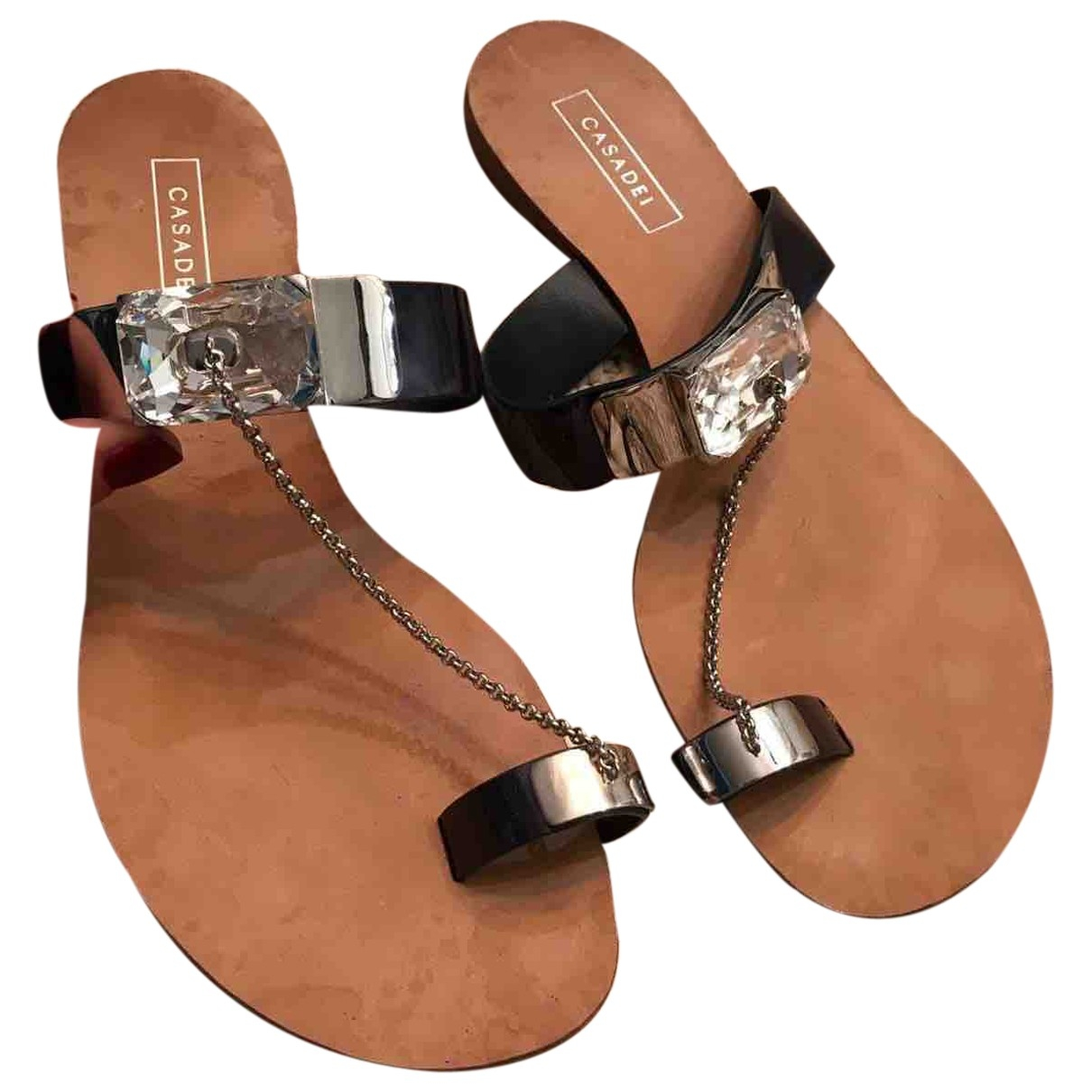 Casadei \N Navy Leather Sandals for Women 39 EU