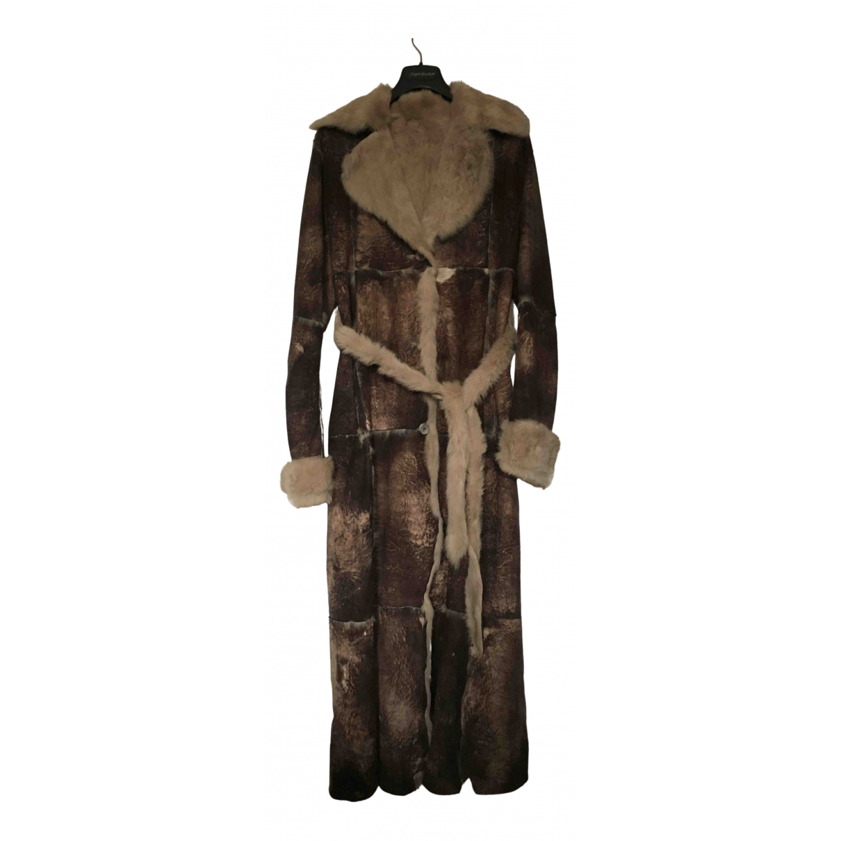 Non Signé / Unsigned N Brown Rabbit coat for Women 42 IT