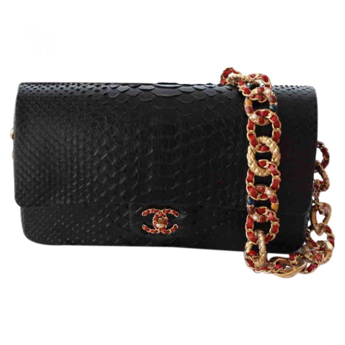 Chanel - Sac a main Timeless/Classique pour femme en python - noir
