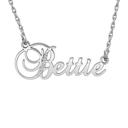 Womens White Diamond Accent Genuine Gold Personalized Pendant Necklace, One Size , No Color Family