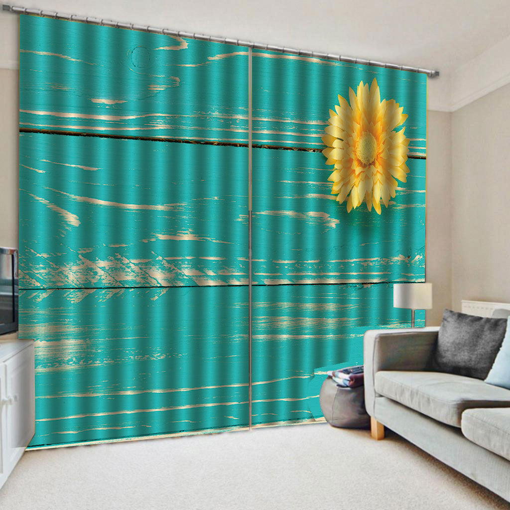 3D Sunflower Decorative Blackout Window Curtains for Living Room No Pilling No Fading No off-lining Blocks Out 80% of Light and 90% of UV Ray