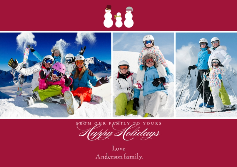 Holiday Photo Cards Flat Matte Photo Paper Cards with Envelopes, 5x7, Card & Stationery -Snow Family