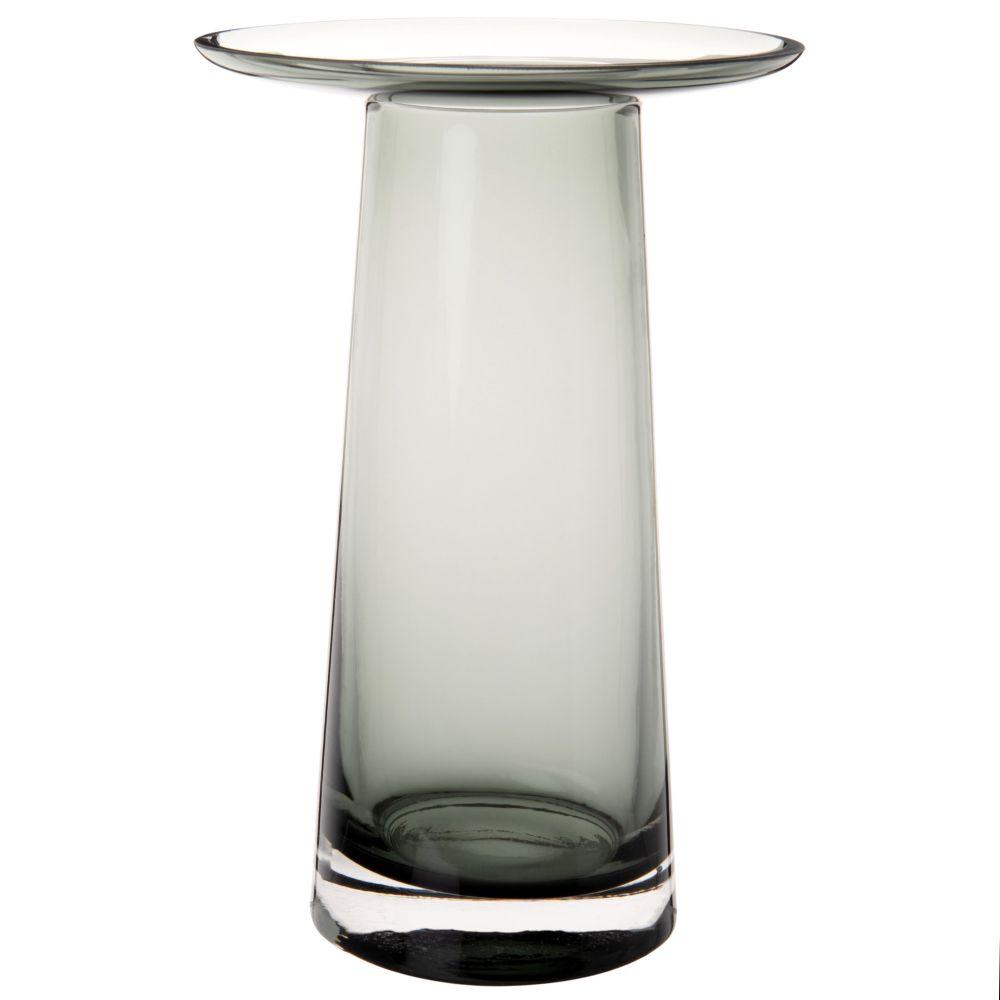 Vase mit Untersetzer aus blau getontem Glas H20