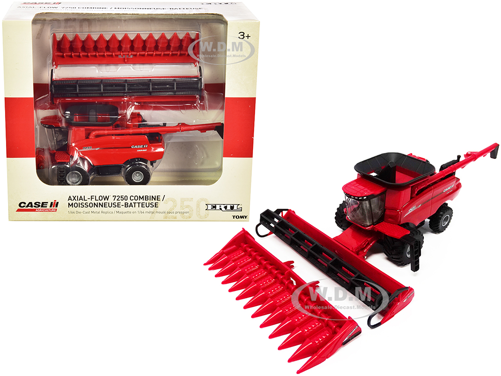 Case IH 7250 Axial-Flow Combine with Folding Auger and 12-Row Corn Head and Draper Grain Head