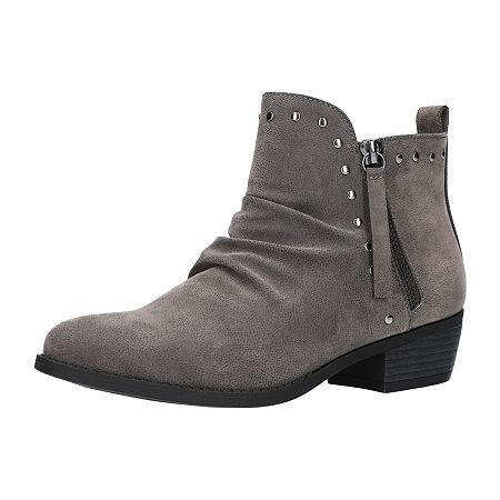 Easy Street Womens Elvie Booties Block Heel, 8 Wide, Gray