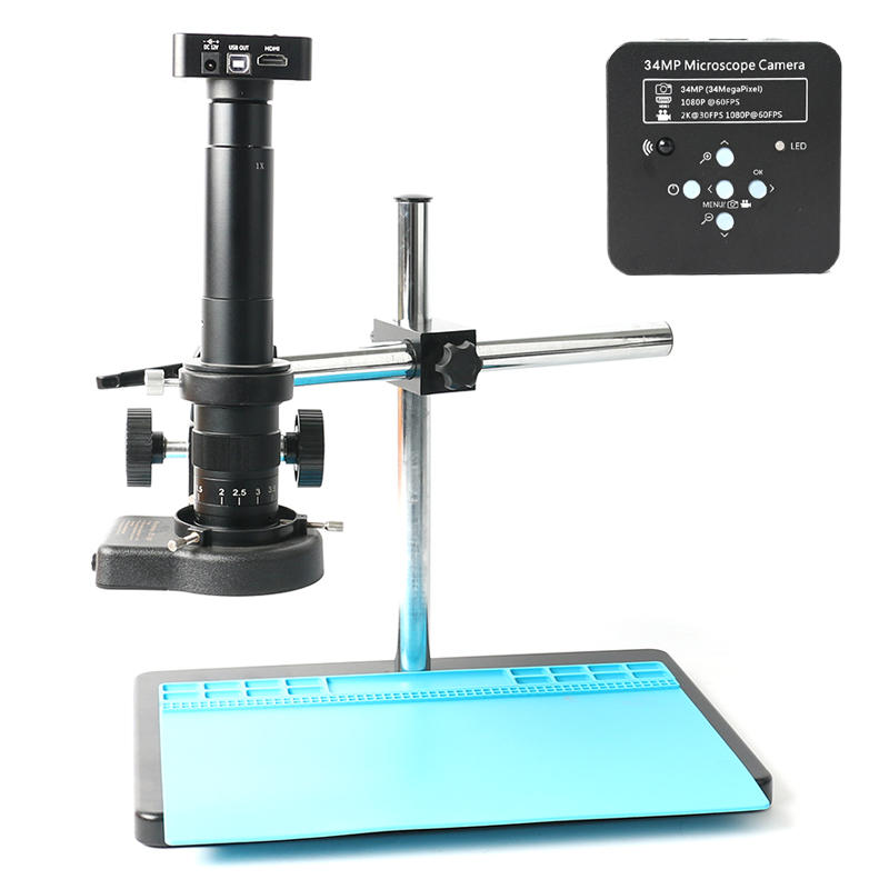 34MP 1080P Freely Adjustable Stand HDMI Video Industry Microscope Camera Video Recorder 180X 300X C-Mount Lens For PCB S