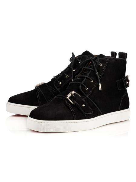 Milanoo Zapatos de lona de felpa Color liso con cordones estilo moderno de puntera redonda Otoño para pasar por la noche