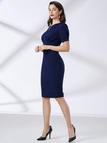 Notch Neck Puff Sleeve Solid Dress