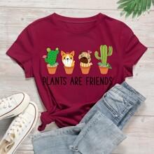 Camiseta con estampado de cactus y slogan