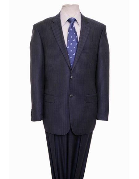 Men's Striped Pattern Single Breasted Notch Lapel Navy Suit