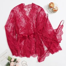 2pack Plus Floral Lace Teddy Bodysuit & Sheer Robe