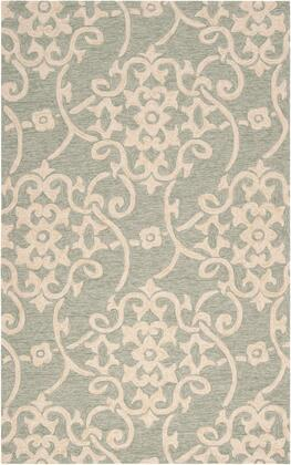 Rain RAI-1103 5' x 8' Rectangle Cottage Rug in Sea Foam  Emerald  Dark