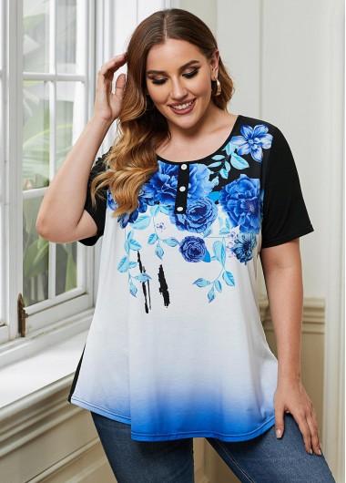 Floral Print Button Detail Plus Size T Shirt - 3X