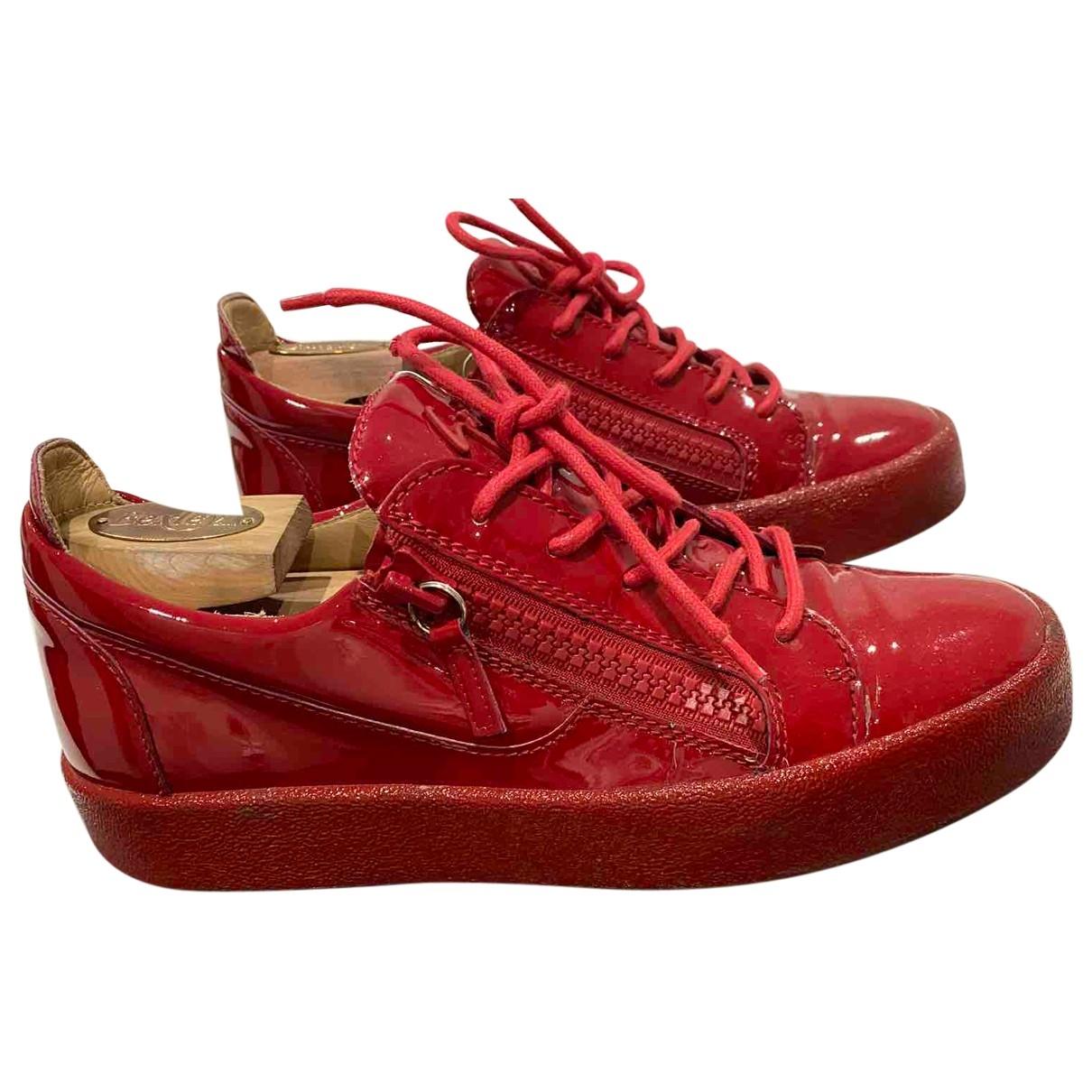 Giuseppe Zanotti - Baskets   pour homme en cuir verni - rouge