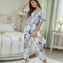 Pajama Set mit Kontrast Bindung und Blumen Muster