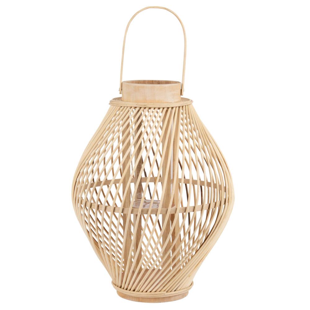 Laterne aus Bambus und Glas