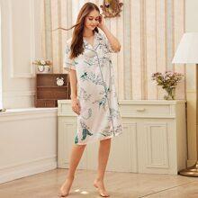 Tropical Print Button-up Satin Shirt Dress