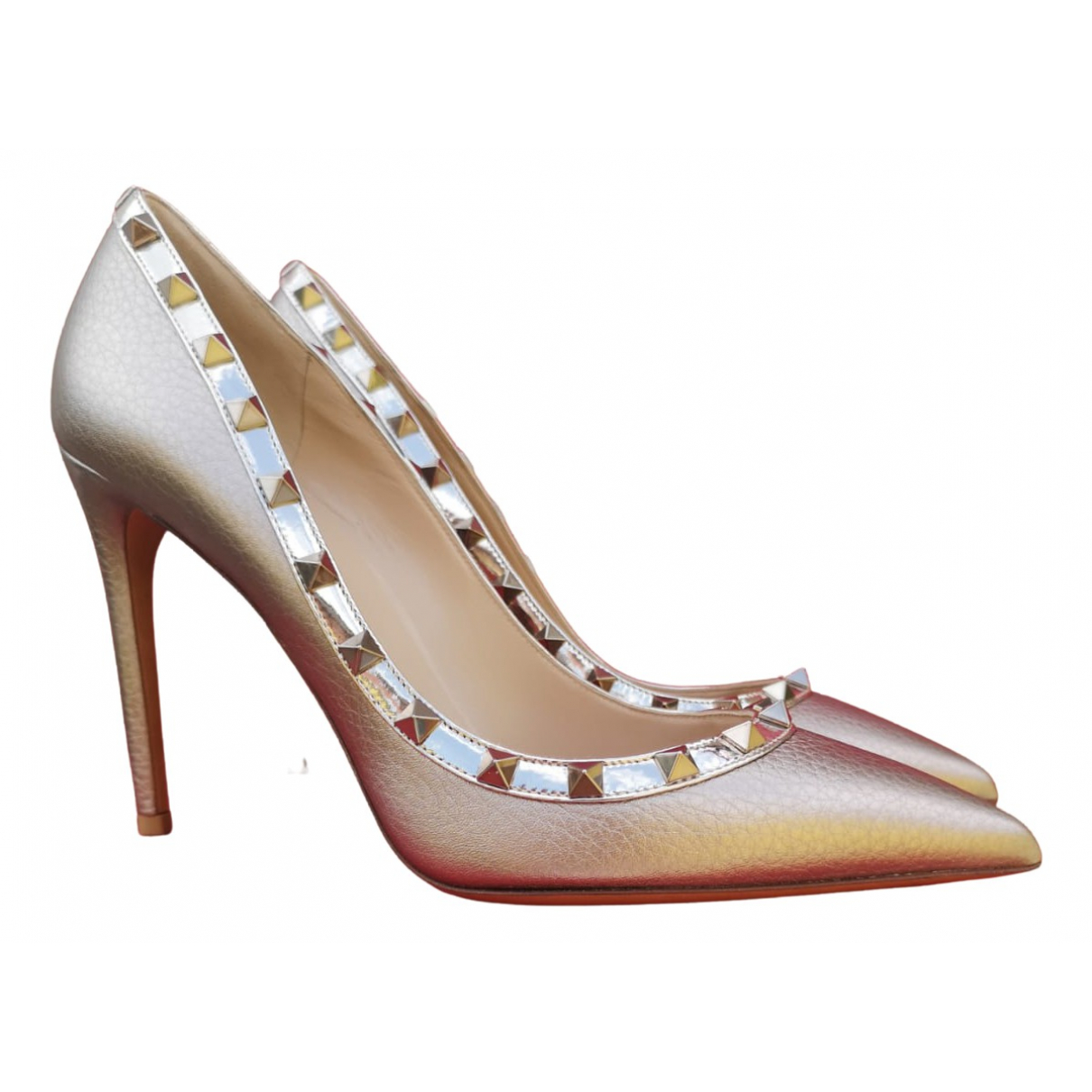 Valentino Garavani Rockstud Gold Leather Heels for Women 40 IT