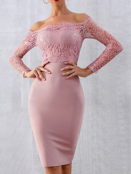 Yoins Pink Lace Patchwork Off The Shoulder Long Sleeves Dress