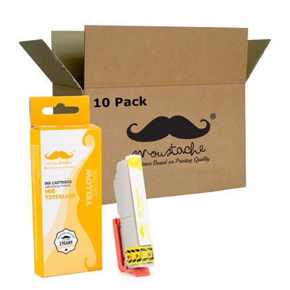 Compatible Epson T273XL420 - 273XL Yellow Ink Cartridge High Yield - Moustache - 10/Pack