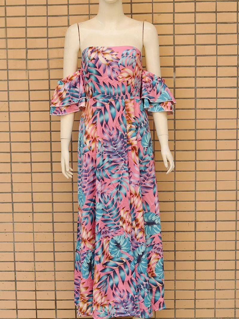 Ericdress Floor-Length Falbala Off Shoulder Expansion Ruffle Sleeve Dress