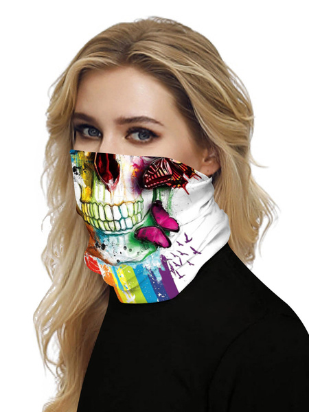 Milanoo Face Cover Windproof Scarf Sunscreen Sugar Skull Print Breathable Bandana