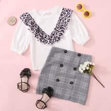 Girls Leopard Ruffle Trim Top & Button Front Glen Plaid Skirt Set