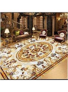 Golden Floral Prints Luxurious Splicing 3D White Waterproof Floor/Ceiling Murals