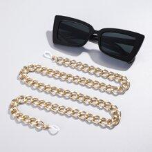 Gafas de sol de marco acrilico con cadena de gafas metalica