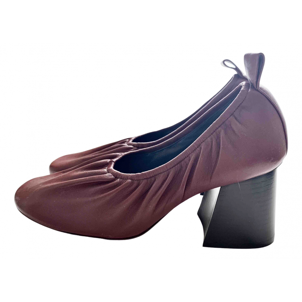 Celine Soft Ballerina Burgundy Leather Heels for Women 38.5 EU