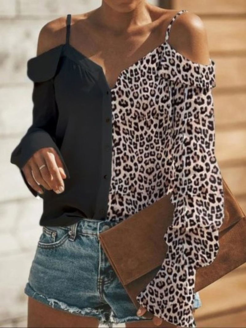 Ericdress Flare Sleeve Print V-Neck Long Sleeve Standard Blouse